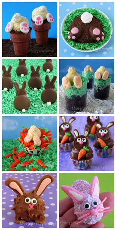 Make adorably cute Easter bunny treats to make your holiday more fun. See the recipes and tutorials to make all these cupcakes, cookies, brownies and more at HungryHappenings.com.