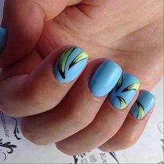 Banana nails, Blue matte nails, Bright manicure on short nails, Bright summer nails, Fruit nails, Ideas of matte nails, Kid nails with pattern, Matte nails