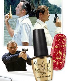 OPI 18k-gold-leaf top coat: The Man with the Golden Gun. I am so getting this when it comes out in Oct. ($30)
