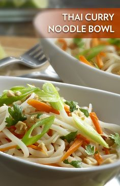 This Thai Curry Noodle Bowl recipe comprises of fresh veggies, rice noodles and Swanson's Thai Ginger Flavor Infused Broth. We love it!