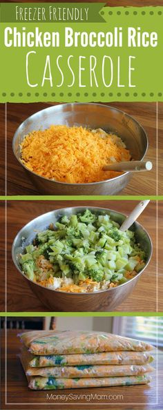 Freezer Friendly Chicken Broccoli Rice Casserole -- frugal, easy to whip up, delicious, filling, and it even freezes well