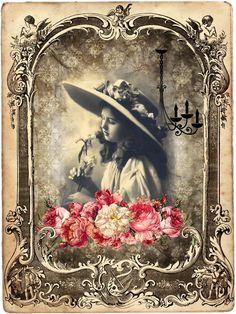 From one of my Botanical & Ephemera Board: Printable vintage lady frame with roses Decoupage Vintage, Éphémères Vintage, Images Vintage, Photo Vintage, Vintage Crafts, Vintage Labels, Vintage Ephemera, Vintage Pictures, Vintage Photographs