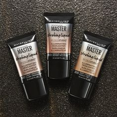 Get the perfect glowing skin look with Maybelline's new liquid highlighter: Master Strobing Liquid.  Mix this highlighter in with your liquid foundation, use as a creamy base for your powder highlighters, or use on its own for a dewy, strobing effect.  Available in three shades for all skintones.