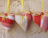 Heart sachets, lavender sachet, aromatherapy, home decor, set of three, red and yellow
