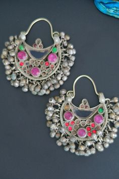 Colorful Vintage Kuchi Crescent Earrings with lots of bell jangles.
