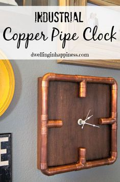 industrial copper pipe clock. I'd do a different background and maybe emboss the…