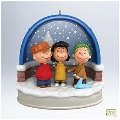 "Charlie Brown and Linus are having fun catching snow flakes even if Lucy thinks it is too early.  This magic cord ornament (magic cord sold separately) combines great light and ""snow"" effects with classic dialogue from the special."
