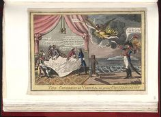 [1814]Bodleian Libraries,The Congress at Vienna in great consternation. Caricature of Napoleon I. (British political cartoon);A design in two parts. The allied powers point in consternation to a map of Europe.An angel heralds Napoleon's escape from Elba,his left hand flaming.A fence meant to pen him in, labelled 'Louis XVIII',is broken.