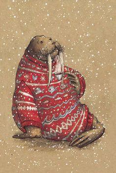 Морж в свитере и с кружкой