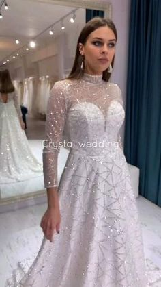 Glittery A-line wedding dress with long sleeves and open back by Crystal Wedding Elegant wedding dress plus size Custom wedding dress Party Wear Indian Dresses, Designer Party Wear Dresses, Pakistani Bridal Dresses, Pakistani Wedding Dresses, Indian Fashion Dresses, Bridal Gowns, Nikkah Dress, Shadi Dresses, Designer Wedding Gowns