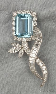 Platinum, Aquamarine, and Diamond Brooch, Van Cleef & Arpels, New York, designed as a flower set with an emerald-cut aquamarine measuring approx. 15.10 x 11.70 x 7.50 mm, further set with marquise-, baguette-, and full-cut diamonds, approx. total diamond wt. 3.80 cts., no. NY 21622, lg. 2 in., signed.