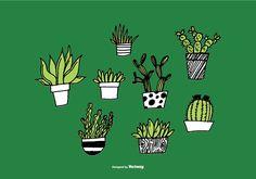 Hand Drawn Succulent Planter Vectors