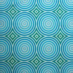 fabric Blue Green Bull's Eye Target concentric circles 1 yard one yd