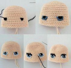 Фотография Crotchet Patterns, Crochet Amigurumi Free Patterns, Crochet Doll Pattern, Doll Patterns, Knitting Patterns, Crochet Eyes, Easy Crochet, Crochet Baby, Knitted Dolls