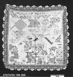 Sampler (cutwork and blackwork)  Date: ca. 1600  Culture: Italian  Dimensions: H. 24 x W. 25 inches (61 x 63.5 cm)  Classification: Textiles-Embroidered  Accession Number: 20.186.366