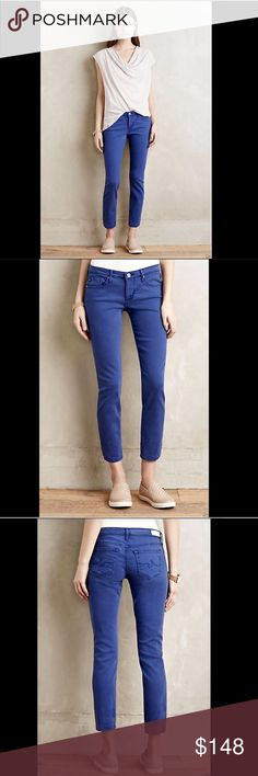 "Anthropologie AG cobalt blue Stretch Jeans 31 Anthropologie AG cobalt blue Stevie Ankle Slim Straight Stretch Jeans  We love the Stevie for its versatility and its exclusivity: this fab fit is available only here. Slim and straight,  this classic 5 pocket ankle-length pair is instantly elongating; try pairing with a belted tunic for one of our favorite silhouettes. New With Tags  *   31  50% cotton * 41% lyocell *  7% polyester * 2% polyurethane machine wash  made in USA  measures: 34""…"