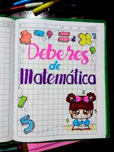 Carátulas, portadas, marcos, bordes de cuadernos para niñas de deberes de matemática kawaii Notebook Art, Notebook Covers, Page Borders Design, Border Design, Sistema Solar, Foam Crafts, Flower Designs, Bullet Journal, Study