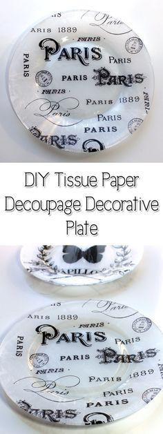 DIY Tissue Paper Decoupage Decorative Plate! - The Graphics Fairy