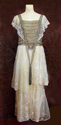 Beaded lace dinner dress, c.1920, from the Vintage Textile archives.