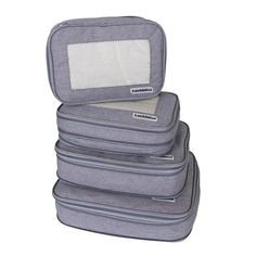 Packing cubes set compartmentalizes similar size items. Provide optimum utilization of interior luggage space.The travel organizer set is lightweight, resistant and easy to clean.