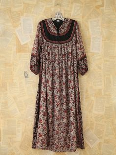Free People Vintage Metallic Floral Printed Dress