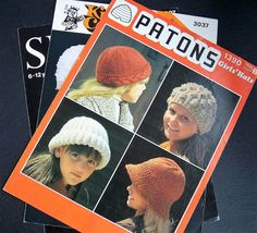 Vintage Knitting Patterns Baby Hat Childrens Hats by IngliVintage