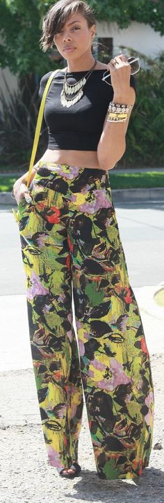 **printed wide legs** I need to wear this with my hair out!