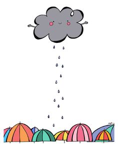 The Happy Rain Cloud Giclee Print  8x10 by treemanjake on Etsy, $25.00