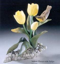 Boehm Porcelain Yellowthroat With Tulips