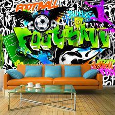 VLIES FOTOTAPETE TAPETEN GRAFFITI FUßBALL
