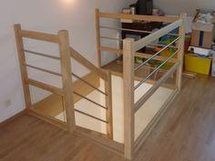 garde corps d'étage en bois et verre, tube inox de vingt centimètres de diamètre