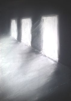 """The Harrowing Hall; pastels"" pastel drawing by Paul D. Robertson"