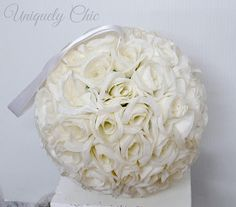 White rose pomander White flower wedding decorations A stunning rose ball perfect for a centerpiece!