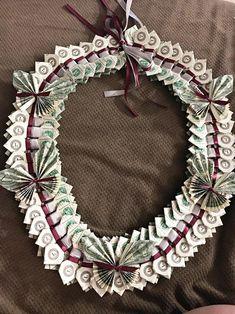 Money Creation, Origami Bow, 100 Dollar Bill, Graduation Leis, Money Lei, Ribbon Colors, Way To Make Money, Grapevine Wreath, Paper Flowers