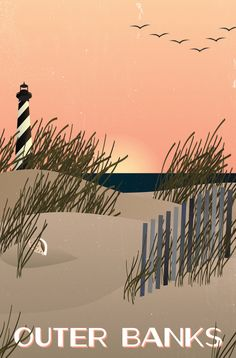 North Carolina Travel Posters by Susannah Brinkley, via Behance