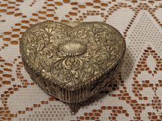 Vintage Jewelry Trinket Box  -  Heart Jewelry Casket  -  15-691 by BubbiesMemories on Etsy