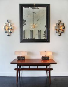 3-Squared sconces with horizontal studded lamps