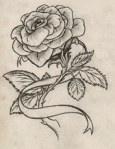 Rose Drawing this is what i want with a red rose and the ribbon to say my grandmother's name and have her birth date and date that she died and be on my left side - Ribbon Tattoos, Rose Tattoos, Flower Tattoos, Body Art Tattoos, New Tattoos, Sleeve Tattoos, Tattoo Sketches, Tattoo Drawings, Thorn Tattoo
