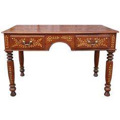 Teak Inlaid Desk   From a unique collection of antique and modern desks at https://www.1stdibs.com/furniture/storage-case-pieces/desks/