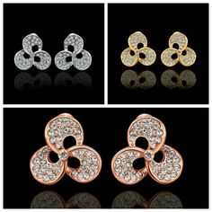 Austrian diamond 、Gold-plated earrings。