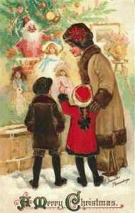 Christmas card vintage mother and children shopping