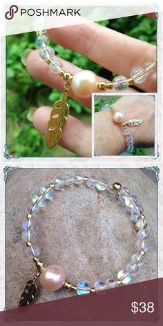 ☀️SUMMER SALE☀️🌏Opalite & Pearl Bracelet w/ Charm 🌏 Opal & Pearl Gemstone Bracelet w/ Gold Feather Charm                                                        🔸handmade in USA by melaniekaren for Beauty is the Earth                                                   🔸simulated opals & freshwater pearl - It's a large natural pearl                                                  🔸Opal beads selected for likeness to Ethiopian Welo opals…