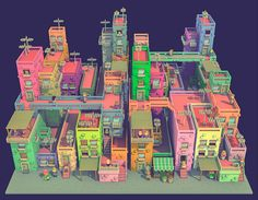 A colorful and chaotic city made in voxels.