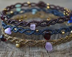 Browse unique items from IndigoMacrame on Etsy, a global marketplace of handmade, vintage and creative goods. Macrame Necklace, Macrame Jewelry, Macrame Bracelets, Diy Bracelets Easy, Bracelet Crafts, Jewelry Crafts, Tatting Jewelry, Necklace For Girlfriend, Macrame Patterns
