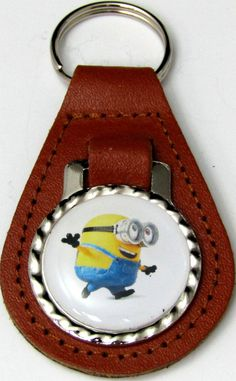 Minions Bob Fabulous Brown Genuine Leather Key Fob Chain Steel Ring FOB-0233