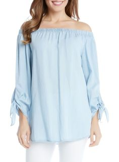 tie sleeve off the shoulder chambray top by Karen Kane. Tie-cuff sleeves frame a graceful shoulder-baring top cut from soft, fluid Tencel lyocell chambray.