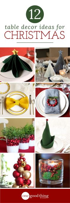 Today I'm sharing a tutorial for folding Christmas tree napkins, followed by a few more napkin ideas, and then some general table decor ideas from around the web. Happy decorating! :-)