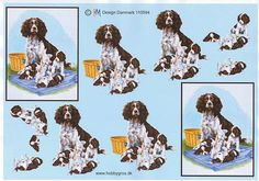 Dog with Puppies decoupage sheet