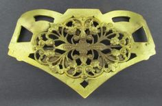 Antique Art Nouveau Brass Metal Florentine Filigree Flowers Brooch Pin No Stone