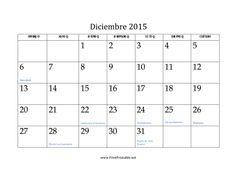 Calendario de Diciembre de 2015 imprimir gratis